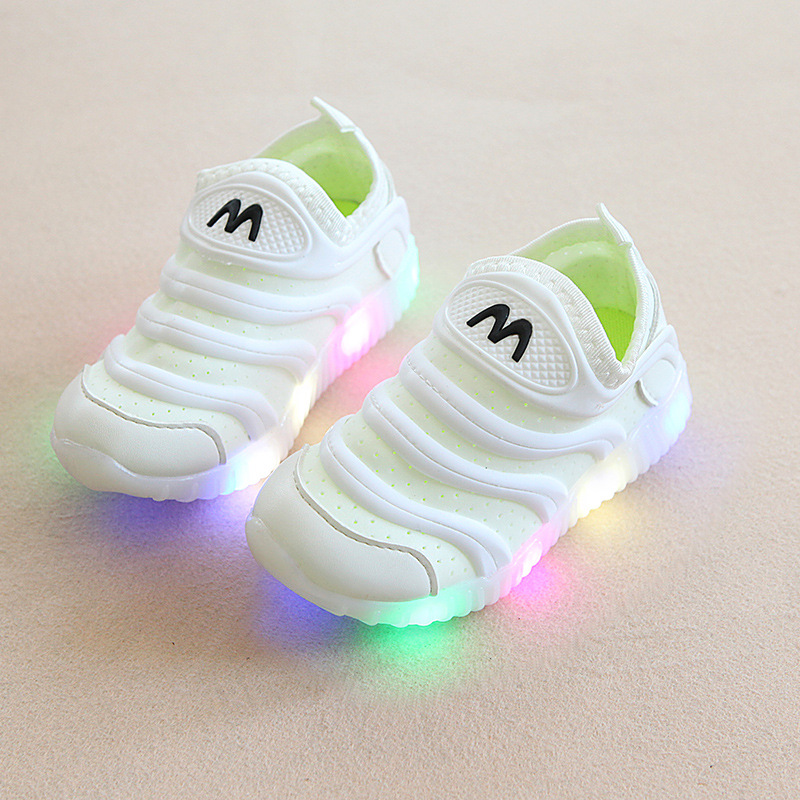 2018 candy color slip on children shoes LED lighted cool baby girls boys shoes hot sales kids baby sports glowing sneakers