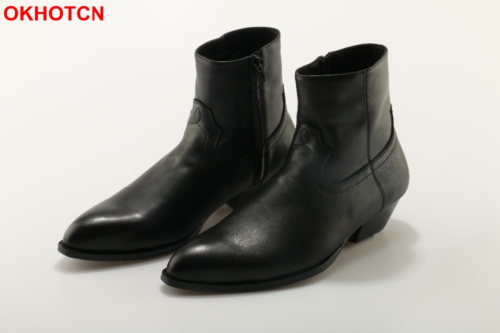 OKHOTCN Genuine Leather Men Boots Black Pointed Toe Luxury Fashion Classic Business Office Formal Ankle Boots Zip Men Shoes Male