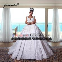 Роскошное свадебное платье, бальное платье принцессы, свадебные платья, сатиновые аппликации с бисером, свадебные платья Trouwjurken