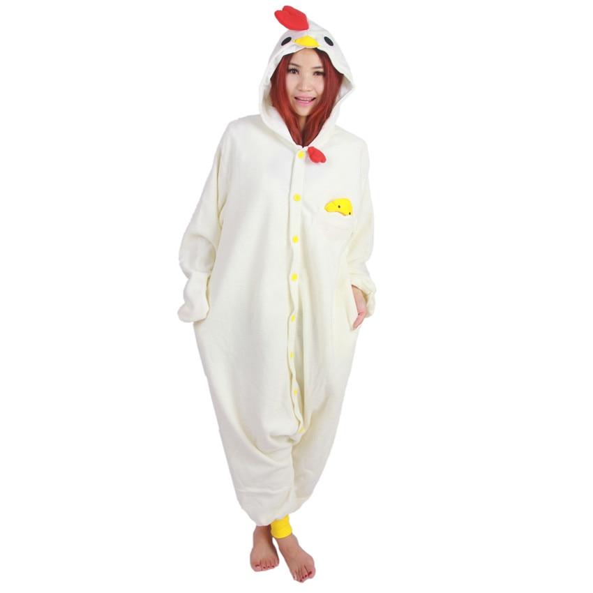White Cock Onesie Kigu Adulți Bărbați Femei Halloween Crăciun Crăciun Party Fleece Unisex Cosplay Kigurumi Costume Jumpsuit