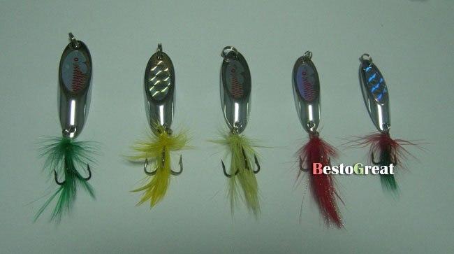 5 шт. рыболовная ложка приманка с тройным крючком Спиннер приманки 10~ 20 г