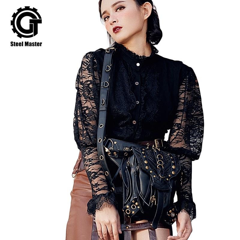 Стомана майстор 2018 пънк ново пристигане женски ретро рок готик чанта за мъже и жени пратеник рамо чанта женски талията чанти