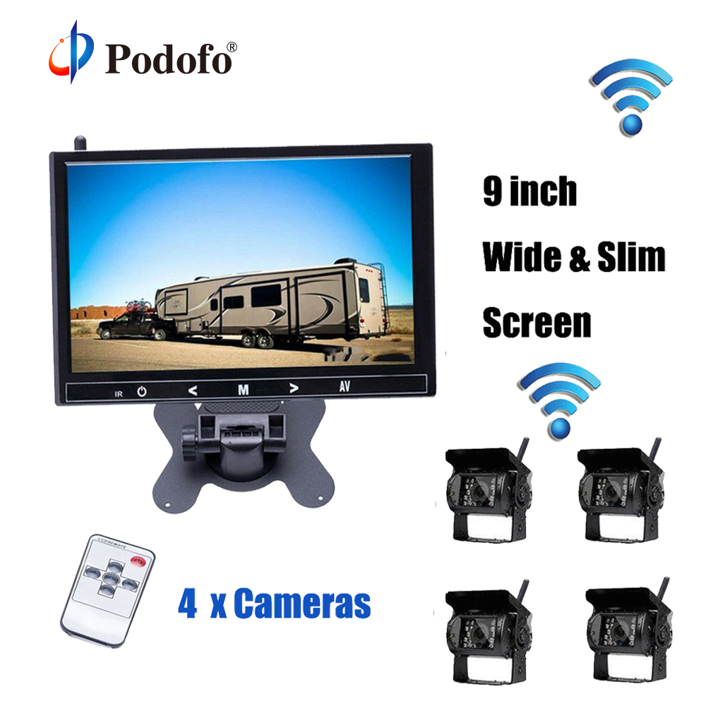 Podofo HD 9 Inch Car Parking Monitor with 18 IR Rear View Camera 2.4 GHz wireless Transmitter Receiver Kit for Truck Trailer Bus