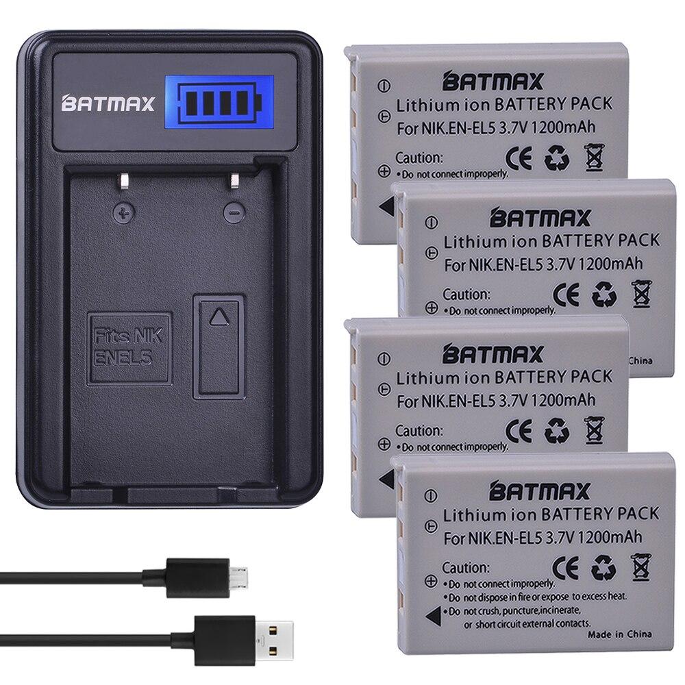 Batmax 4Pack EN-EL5 EN EL5 ENEL5 Batterie + LCD USB Chargeur pour NIKON Coolpix P530 P520 P510 P100 P500 P5100 P5000 P6000 P90 P80