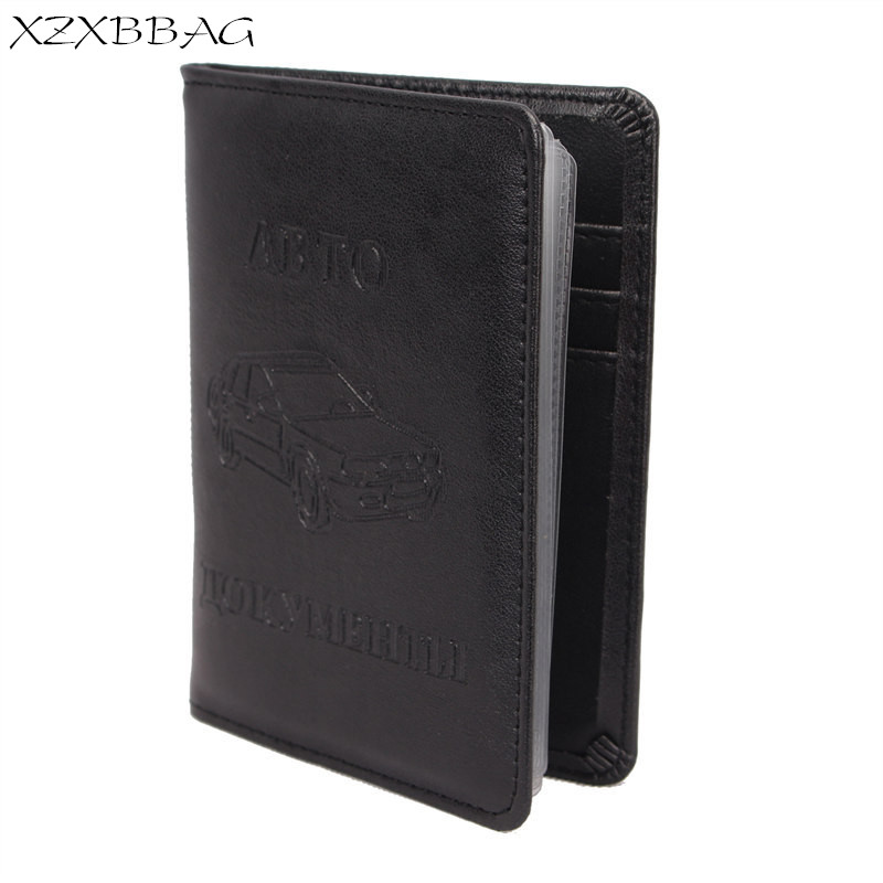XZXBBAG New Russian Auto Driver License Bag PU Leather Men Women Car Driving Documents Protective Case Credit Card Holder Covers