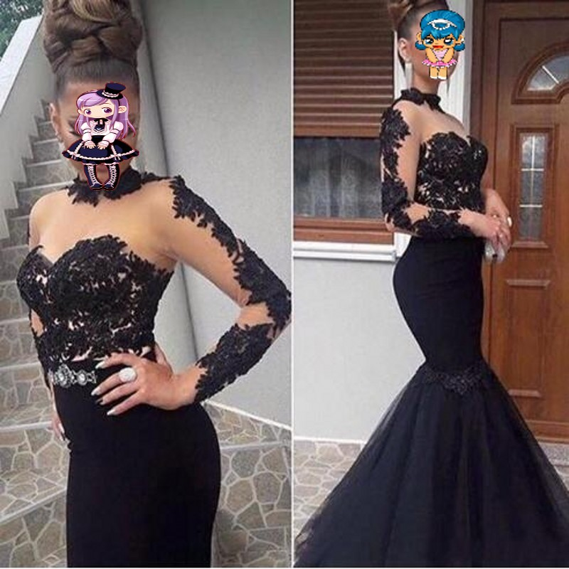 abiti da cerimonia da sera Black Evening Dress Mermaid Robe De Soiree Long Sleeves Evening Dresses