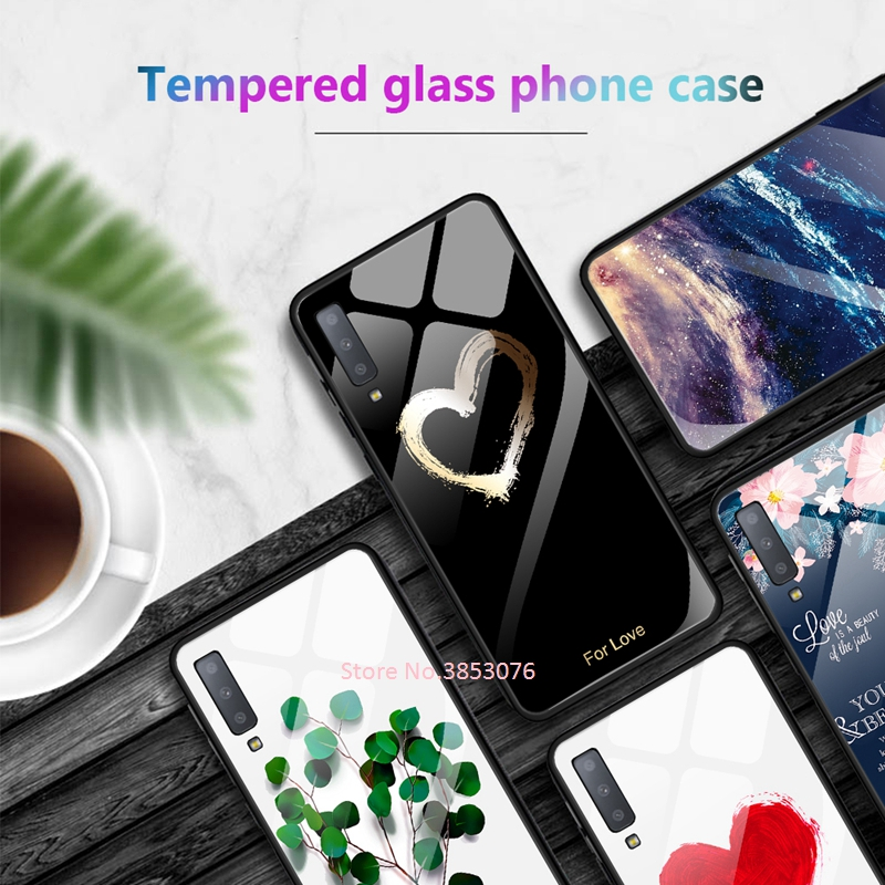 , Tempered Glass Phone Case For Samsung Galaxy S10e S9 S8 A7 J4 J6 Plus 2018 Note 8 9 Pattern Cover For Samsung S9 Soft Edge Cases