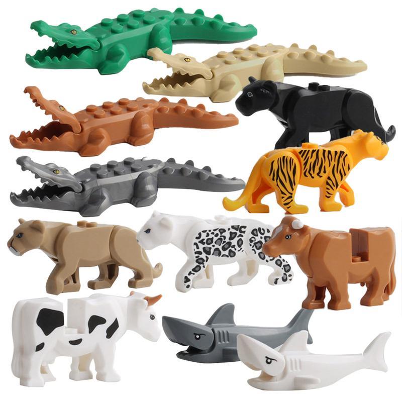 12 Stücke Krokodil Tiger Kuh Bebaubare Modell Kinder Lustige Tier Gebäude Block Fit Lego
