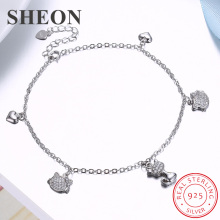 SHEON Authentic 925 Sterling Silver Cute Cat Heart Charm Anklet 100% Foot Chain Ankle Women Jewelry