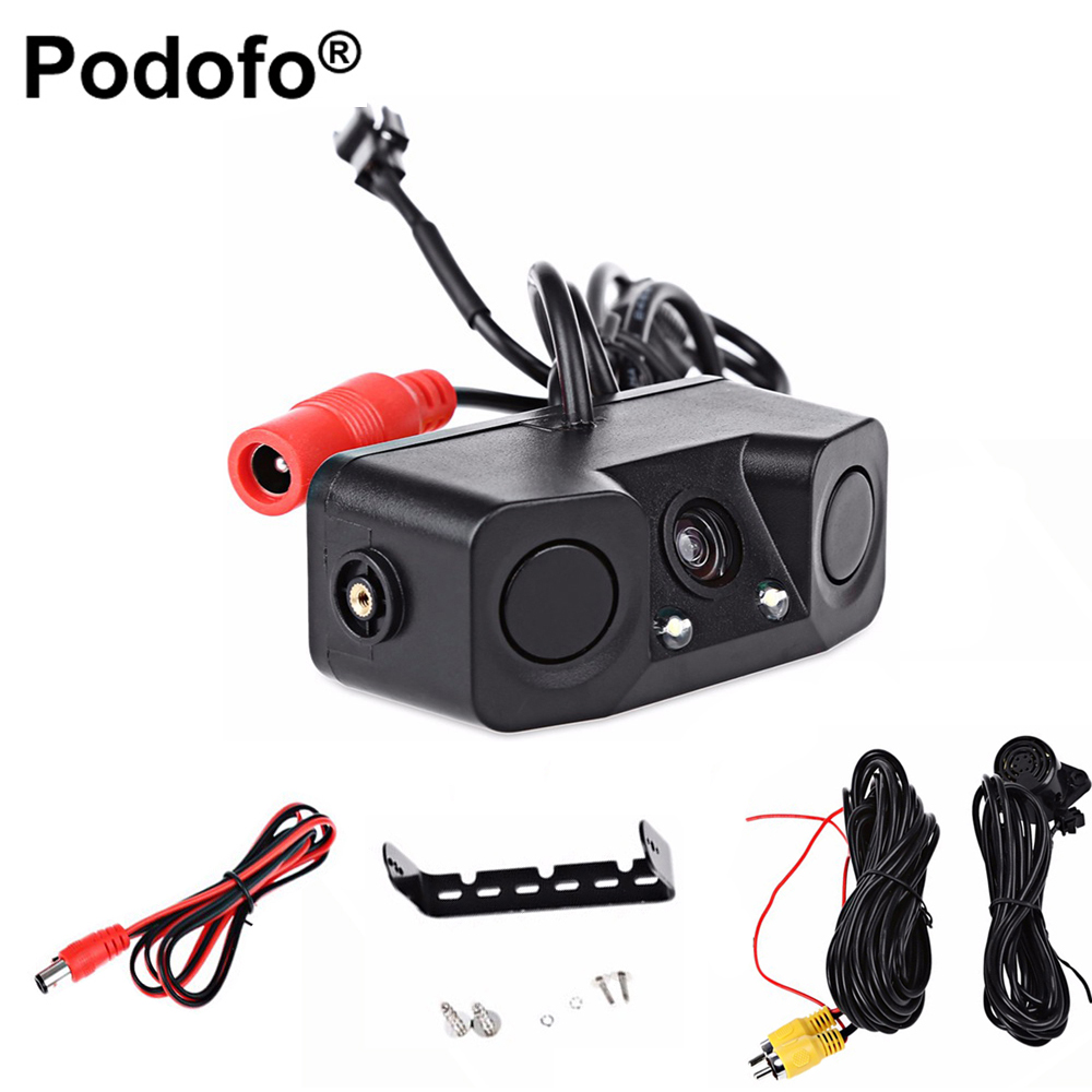 Podofo Video Parking Car Backup LED Reverse Rearview Camera with 2 Radar Detector Alarm Sensors Parking Assistant System Car Cam цена