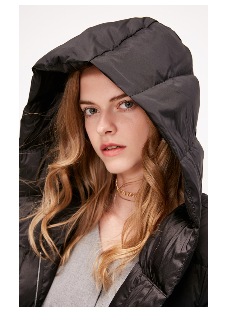 ONLY womens' winter new medium and long black down jacket Partial sill design Hooded collar|118312555 7