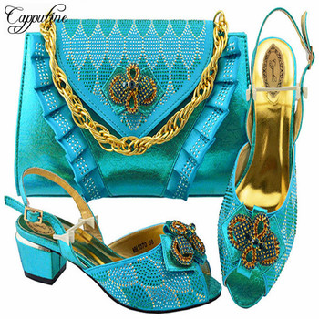 Capputine  Fashion Italian Elegant Sky Blue Shoes With Matching Bag Set High Quality African Shoes And Bag Set For Wedding