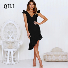 QILI Elegant Ruffles Asymmetrical Women Dress Red Black V Neck Sleeveless Backless Hollow Out Sexy Dresses Party Club