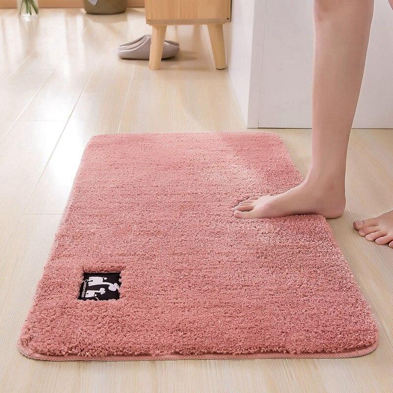 Cotton Fiber Bath Mat Super Absorbent Bathroom Carpets Rugs Bathtub Floor Mat Doormat For Shower Room Toilet Bathroom Mat 4 Size