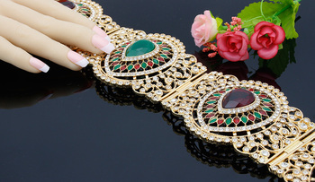 Fashion Women Broadside Resin Flower Belly Chains Belt Full Rhinestone Classical Royal Waist Chain Morocco India Wedding Jewelry