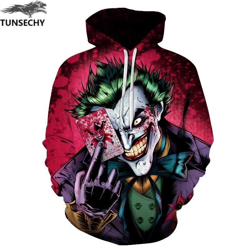 Tunsechy новые свитшоты Для мужчин фирменные толстовки Для мужчин Джокер 3D печати балахон мужской Повседневное костюмы Размеры S-XXXL оптом и в ро...