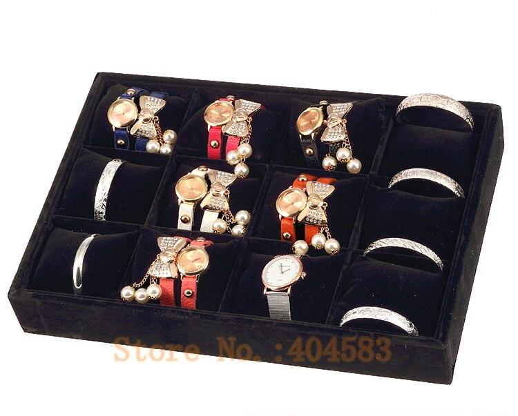 12 Grid Black Wooden Jewelry Trays, Bracelet Watch Display Case No Lid