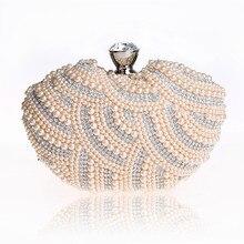 Neue Mode Mini Frauen Kleid Abendtaschen herzförmigen Schulterbeutel Perle Perlen Partei Taschen Kupplung für Party