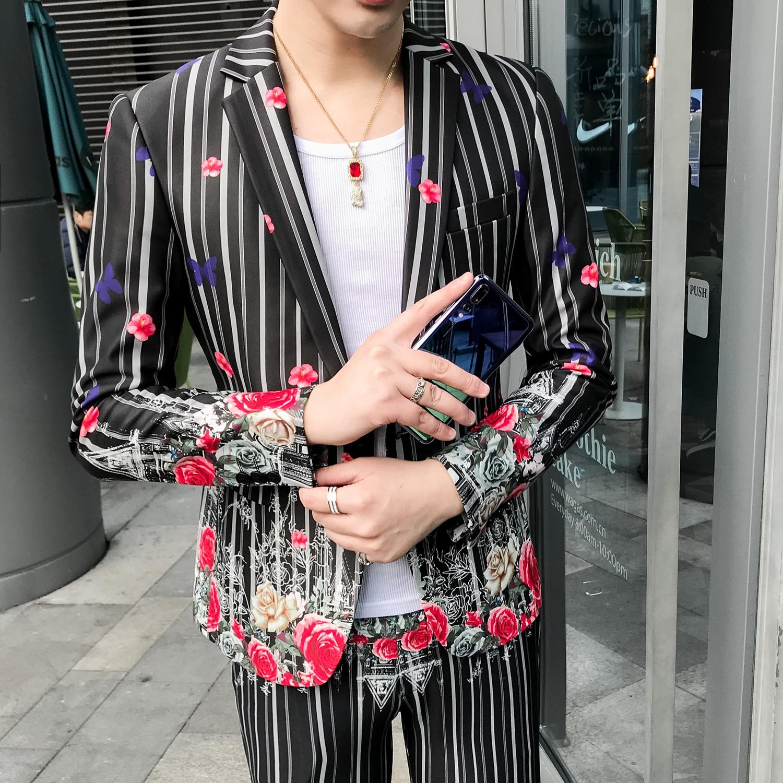 2019 rayure fleur homme Costume manteaux boîte de nuit mariage Slim Fit Blazer hommes veste décontracté mâle chanteur Costume Casaco Masculino