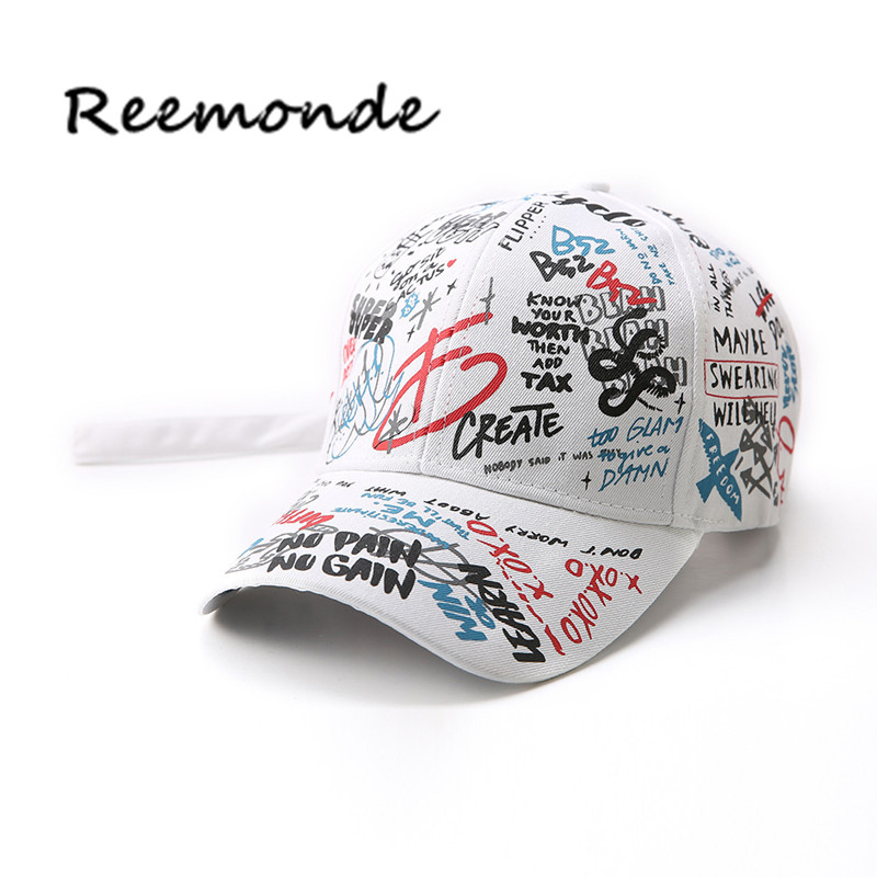 REEMONDE Summer Baseball Cap Graffiti Sun Caps Hip Hop Visor Spring Hat Adjustable Snap-back Hats For Women