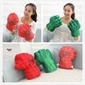 "Free Shipping Plush The Incredible Hulk Gloves 11"" Superhero Figure Hulk Toys Children Christmas Kids Toy 1set"