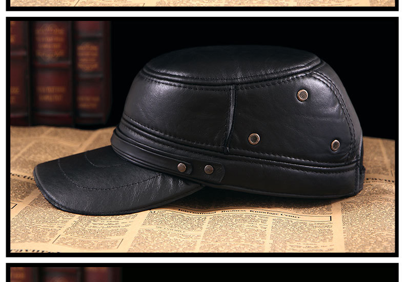 Men\'s Leather Hat - warm winter baseball cap - Korean fashion outdoor peaked cap _16