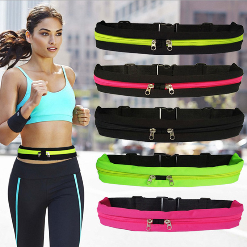 Waist Pack Men Women Fashion Double Pocket Key Purse Money Fanny Belt Pouch Casual Small Bag For Traveling Running Sport