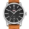 Benyar correa de cuero de moda de doble calendario reloj de cuarzo marca de lujo reloj hombre 30 m impermeable casual reloj relogio masculino