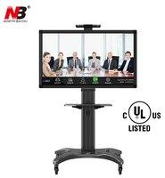 NB AVF1500 50 1P Aluminum Alloy 32~65 inch TV Mount Trolley Flat Panel LED LCD Plasma TV Cart with AV shelf Holder
