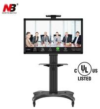 NB AVF1500-50-1P Aluminum Alloy 32~65 inch TV Mount Trolley Flat Panel LED LCD Plasma TV Cart with AV shelf Holder