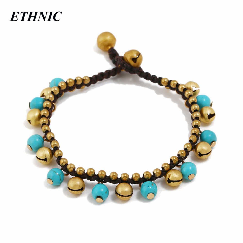 2018 Vintage Handmade Beaded Wax String Chain Round Stone Bell Charm Bracelets for Women Fashion A Bracelet Wholesales