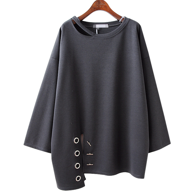 AZURE SHEN 2017 Autumn New Fashion Irregular Swing Hollou Out Metal Decorated font b Pullover