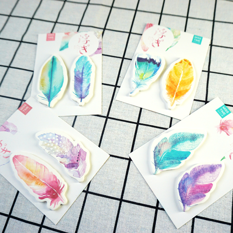 32 pcs/Lot Rainbow feather sticky note Post planner sticker Memo label Stationery Office accessories School supplies EM171