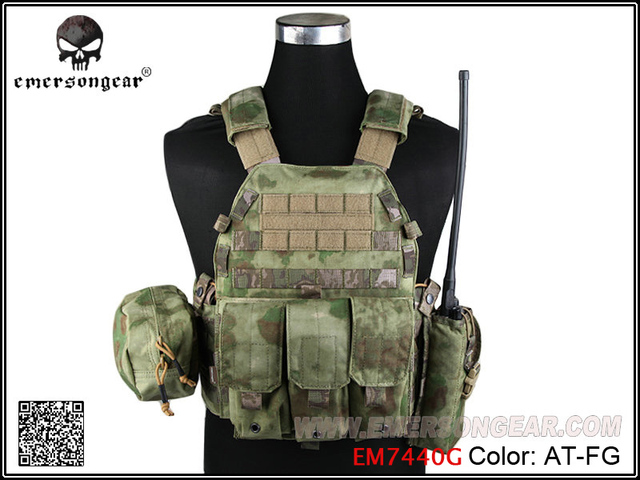 Emersongear LBT6094A Style Tactical Vest With 3 Pouches Airsoft Military Combat Vest AT FG EM7440G