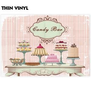 Image 2 - 사진 스튜디오에 대 한 allenjoy 배경 빈티지 패션 테이블 다른 케이크 육체 핑크 스트라이프 배경 캔디 바 photocall