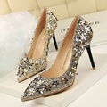 Hot Sale Pointed Toe Sexy Shoes Woman High Heels elegant girl with fine shallow mouth sequins flowers shoes