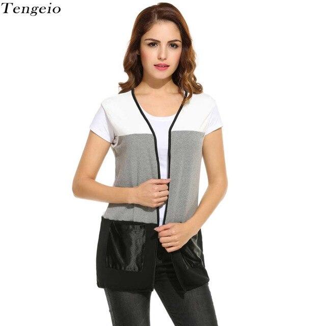Open Stich Women Vest Pocket Pachwork Long Jacket V neck Colete Cardigan Coat Outwear For Famale Veste with Waist Belt W0109