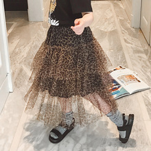New Girl Tutu Skirts Children Fashion Summer Leopard for Teenage School Girls Long Pleated Skirt Toddler Clothes
