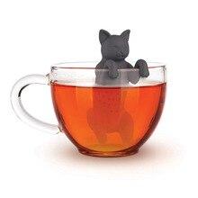 Черный серый питомец, кошачий чай, заварка, Пищевая силиконовая резина, мурлыкающий чай, животное, собака, чай, фильтр, ситечко для чая