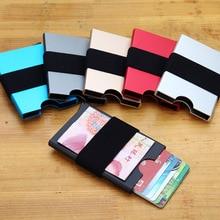 цена на Aluminum Rfid Card Holder Case Automatic Pop Up Business Card Holder Men Metal Credit Card Box ID Card Wallet