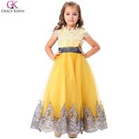 Gelb Bodenlangen Spitze Applique Blume Mädchen Kleider 2017 Vestidos Rundhals Spitze Bogen Knoten Schärpe Tulle Mädchen Pageant Kleider