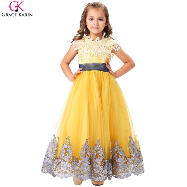 Yellow Floor Length Lace Applique Flower Girl Dresses 2017 Vestidos Round Neck Lace-up Bow Knot Sash Tulle Girl Pageant Gowns