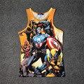 Hot Superhero Spiderman 3D Tanque Impressão Encabeça Crianças Homens Mulheres Undershirt adolescente Algodão T Solta Marvel Capitão América