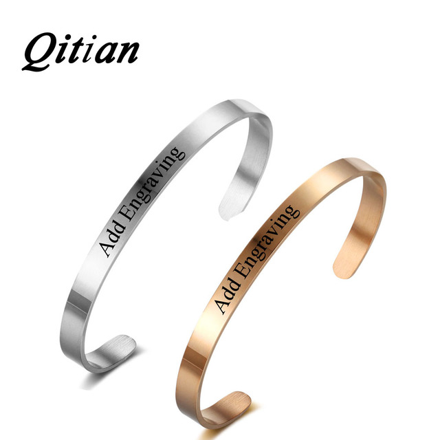 6321c7013348 Qitian Moda Personalizada Pulseras DIY Nombre Grabado Letras Números Romanos  Fecha Código Morse Inicial Joyería de