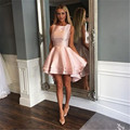 Beautiful 2017 New Sexy Scoop High Low Lovely Pink Tiered Women Special occasion Cocktail Party Dress robe de cocktail