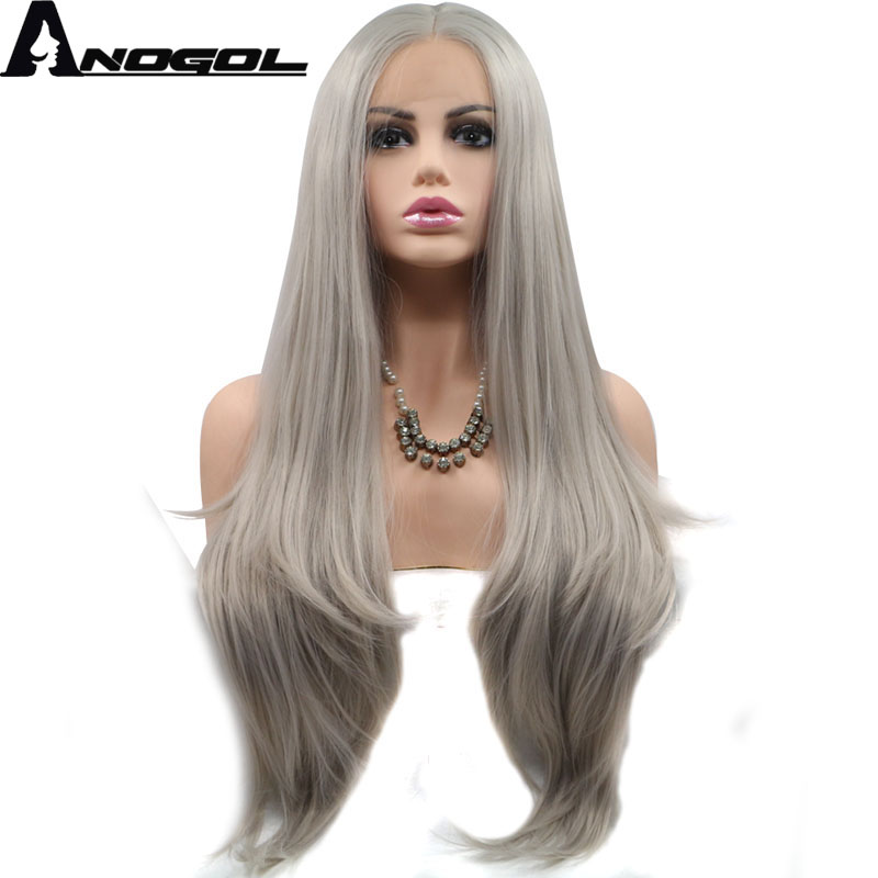 Anogol High Temperature Fiber Cabelo 360 Frontal Full Hair Wigs Ash Grey Long Natural Wa ...