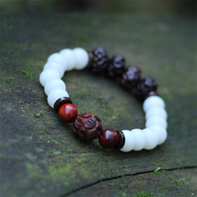 2016 new arrival mulheres pulseiras bodhi branco escultura em madeira elasticidade frisado moda jóias acessórios charm bracelet BS09