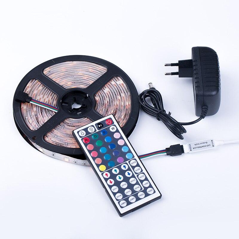 Striscia di Led SMD 5050 RGB Impermeabile 5 M Nastro Luce di Telecomando 44key 12 V Alimentazione Flessibile Luce Casa decorazione