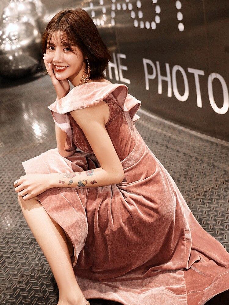 Weiyin 2019 nouveauté Sexy une épaule velours robes de soirée coupe courte formelle robes de soirée Robe Soiree WY1379 - 3