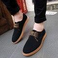 Homens Sapatos Oxford 2017 sping/outono Nova Camurça Genuínos Homens de Couro das sapatas de vestido dos homens sapatos oxford de camurça Plana homem sapatos baixos
